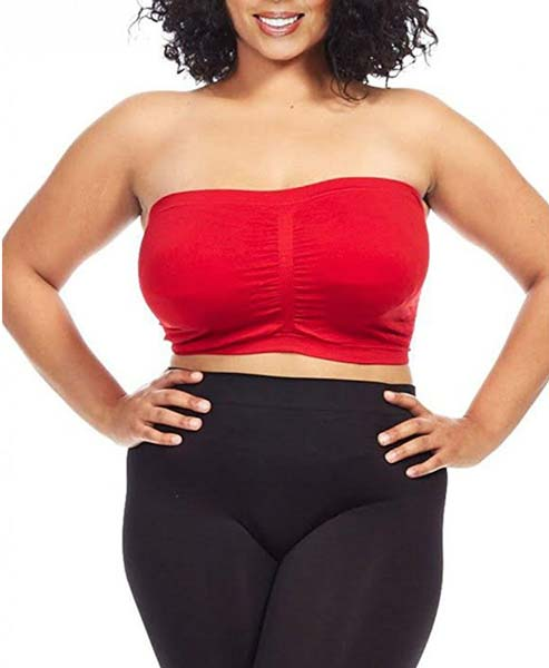 Dinamit-Jeans-Women's-Plus-Size-Seamless-Padded- Plus Size Bandeau-Tube-Top-Bra